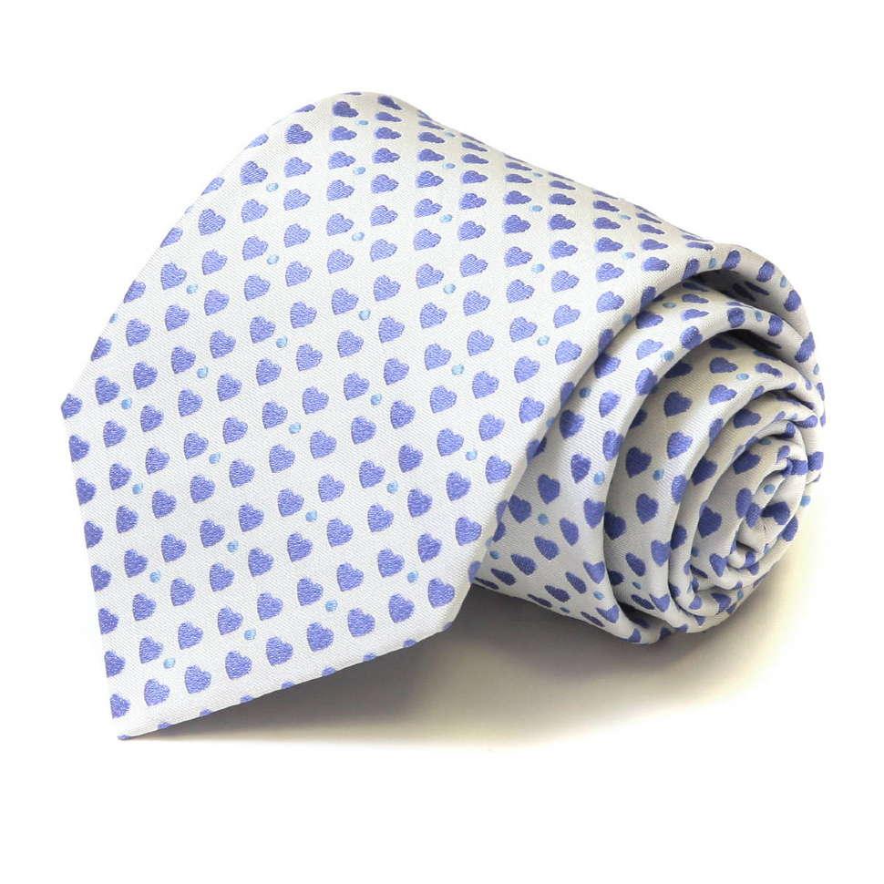 Стильный белый галстук с голубыми сердечками Moschino 36141