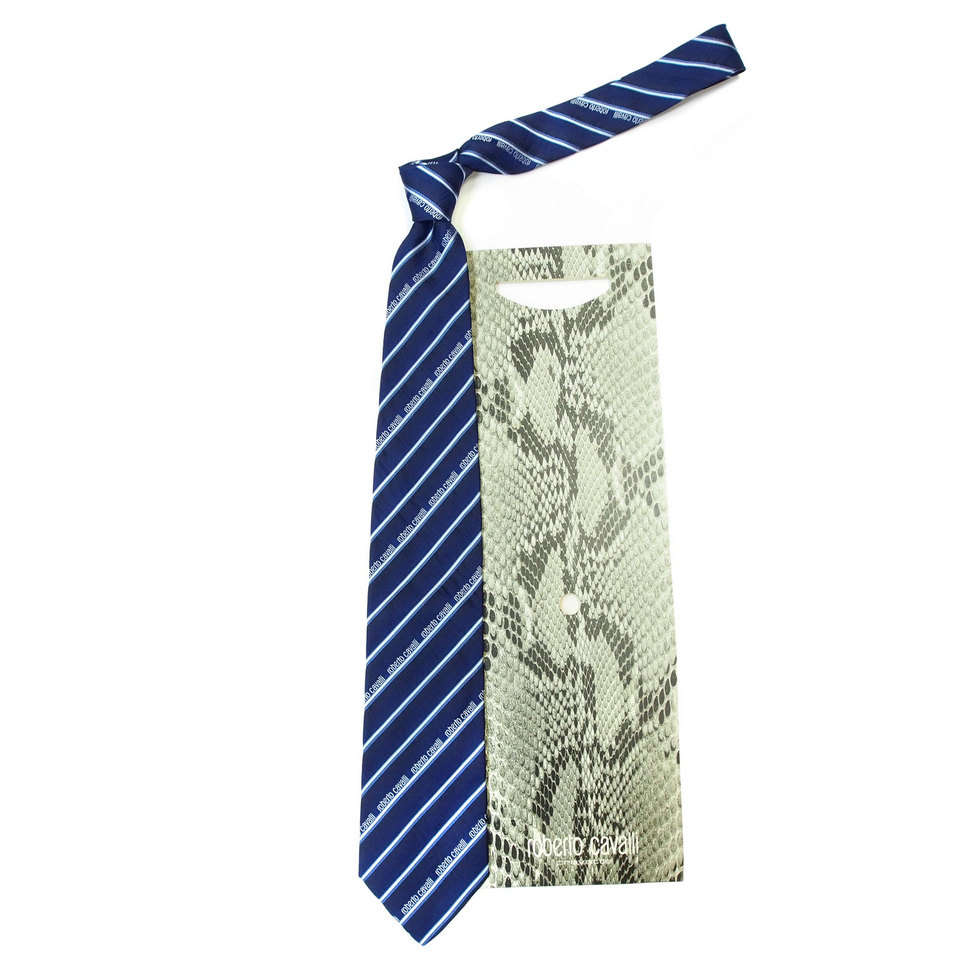 Брендовый синий галстук в контрастную стильную полоску Roberto Cavalli 824182
