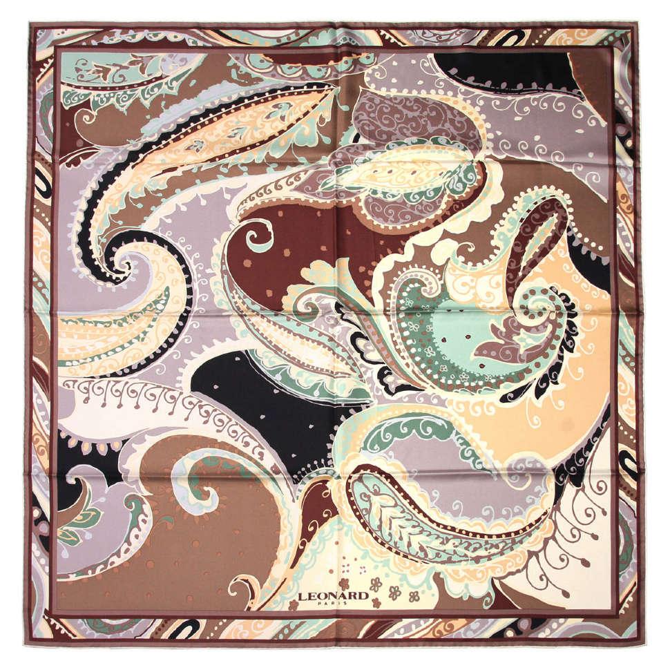 """Стильный платок в коричневых тонах с узором """"огурцы""""Leonard 65232"""