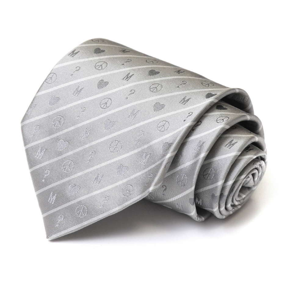 Серебристый галстук с мелкими рисунками Moschino 34474