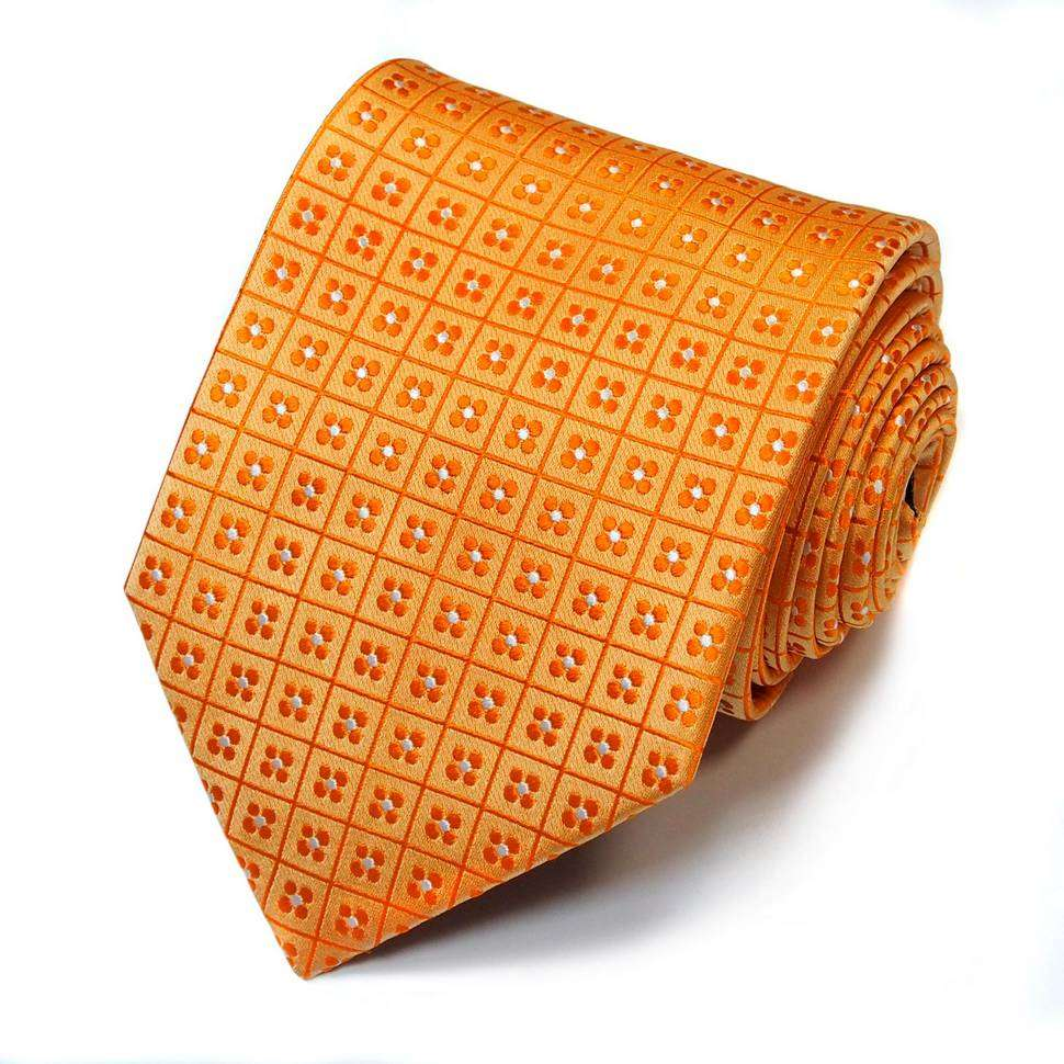 Стильный оранжевый галстук в рисунок Basile 821970