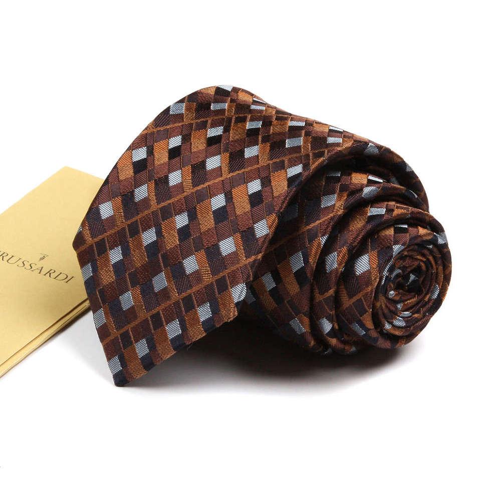 Зауженный галстук в клетку в коричневых тонах Trussardi 72549