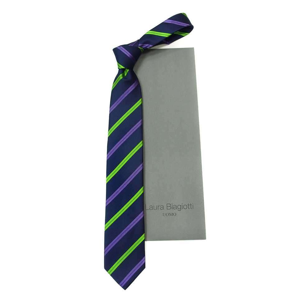 Темно-синий классический галстук с яркими полосами Laura Biagiotti 822418