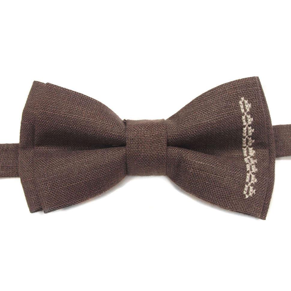 Коричневый галстук бабочка под рубашку 814399