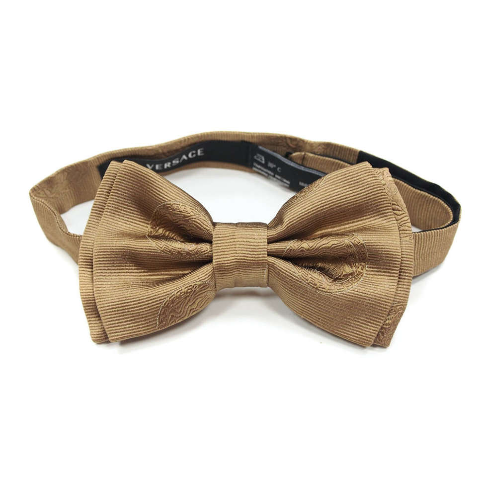 Фирменная галстук-бабочка светло-коричневого цвета Versace 812251