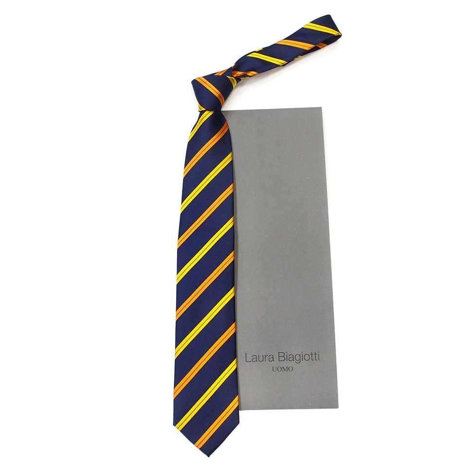 Стильный синий галстук в желтые и оранжевые полосы Laura Biagiotti 822447
