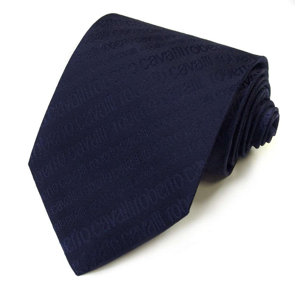 Синий галстук с диагональным расположением логотипа Roberto Cavalli 824387