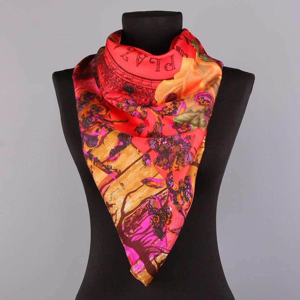 Шелковый платок в бордовых тонах Christian Lacroix K8AKD