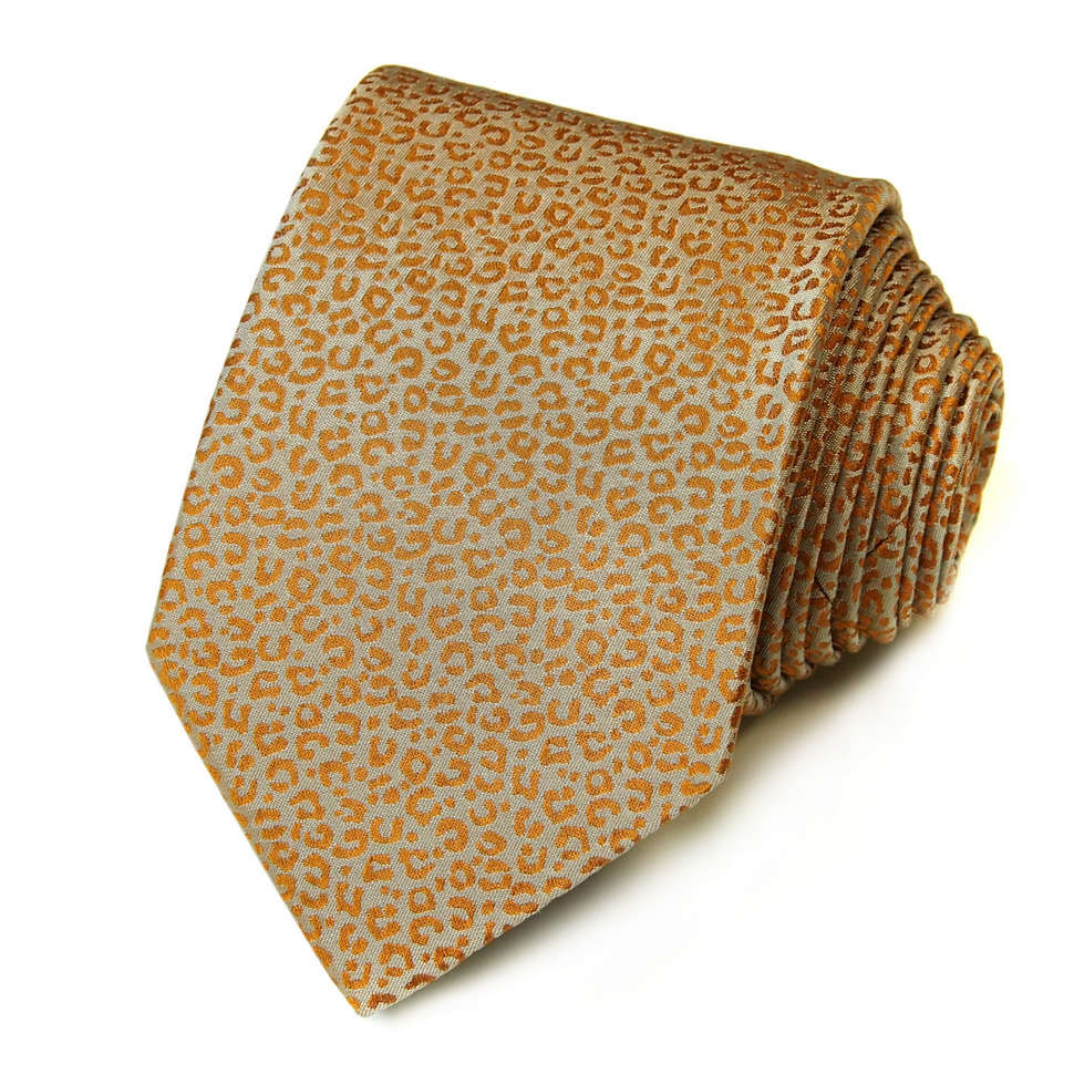 Серый галстук с дизайном золотисто-оранжевый леопард Kenzo Takada 826163