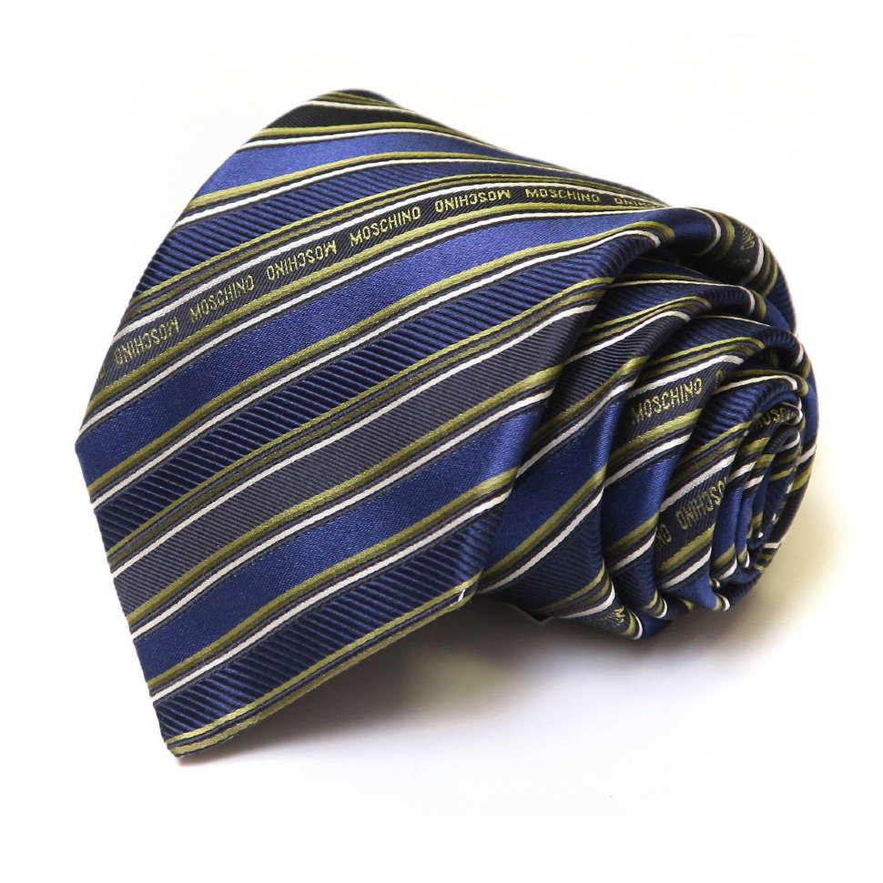 Синий галстук с лазурным оттенком в полоску Moschino 32963