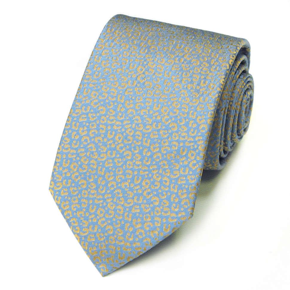 Нежно-голубой галстук с дизайном под леопард Kenzo Takada 826192