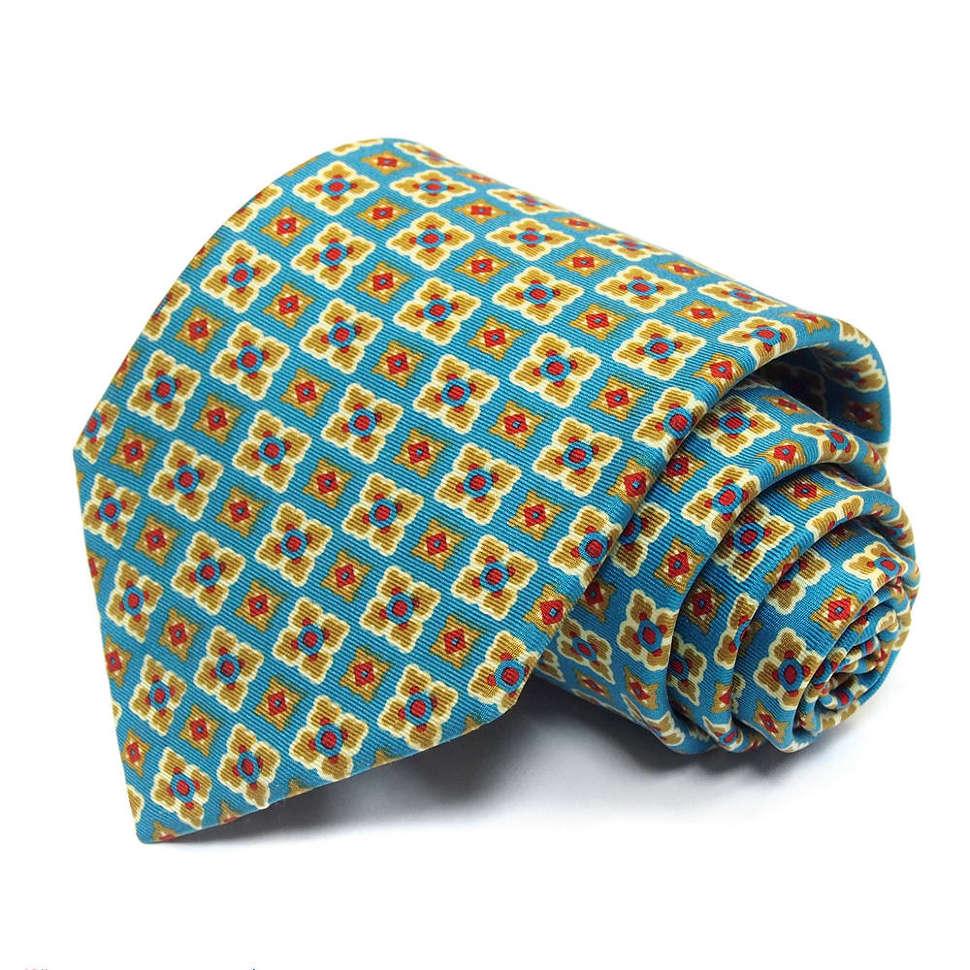 Стильный бирюзовый галстук с оригинальным принтом Benjamin James 811588