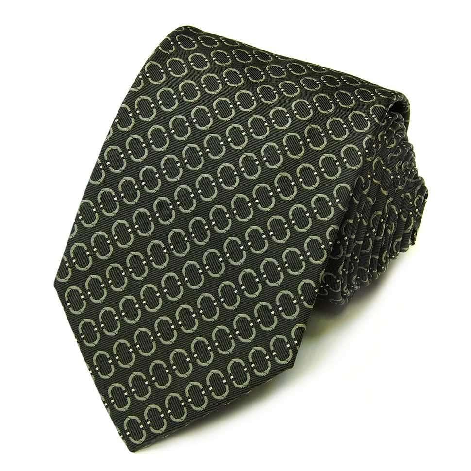 Темно-зеленый жаккардовый галстук в стильное изображение логотипа Celine 823243