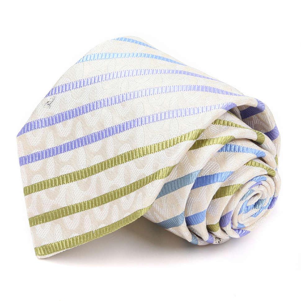 Светло-бежевый галстук с разноцветными полосами Emilio Pucci 66851
