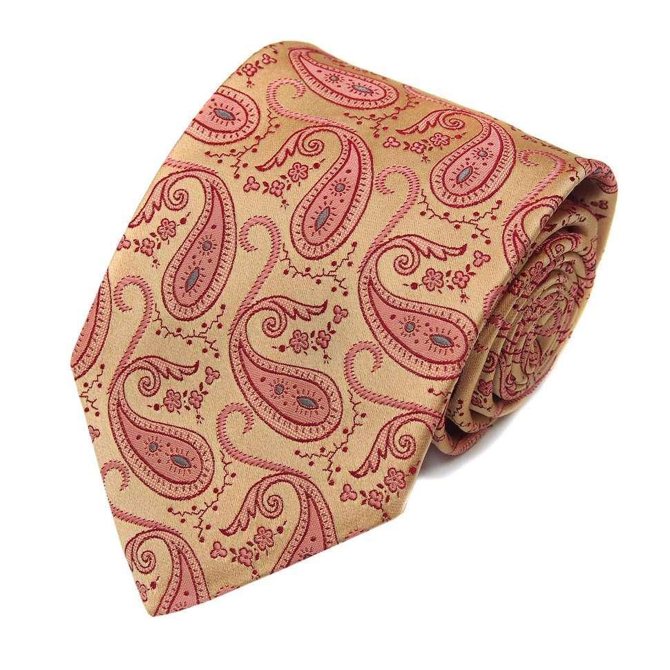 """Светлый шелковый галстук с контрастными """"пейсли"""" Christian Lacroix 820143"""