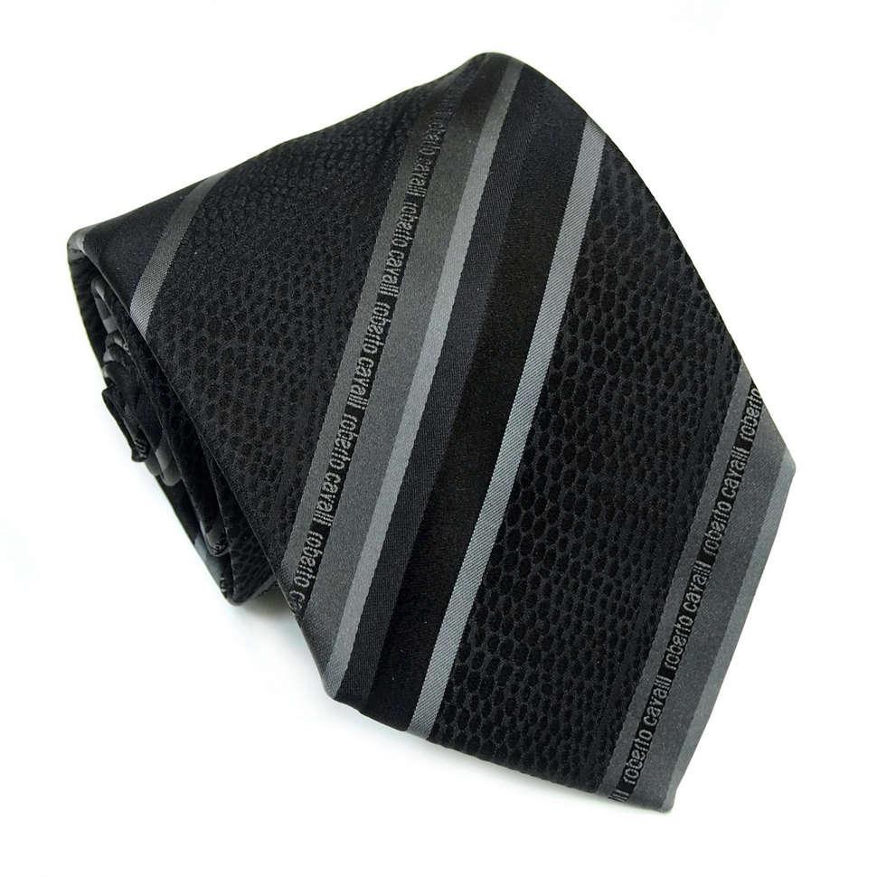 Строгий черно-серый галстук в полоску с змеиным принтом Roberto Cavalli 824492