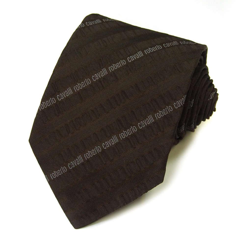 Коричневый галстук с необычным стильным жаккардом Roberto Cavalli 824542
