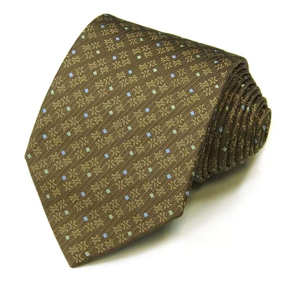 Мужской галстук коричневого оттенка в мелкий квадратик Celine 823317