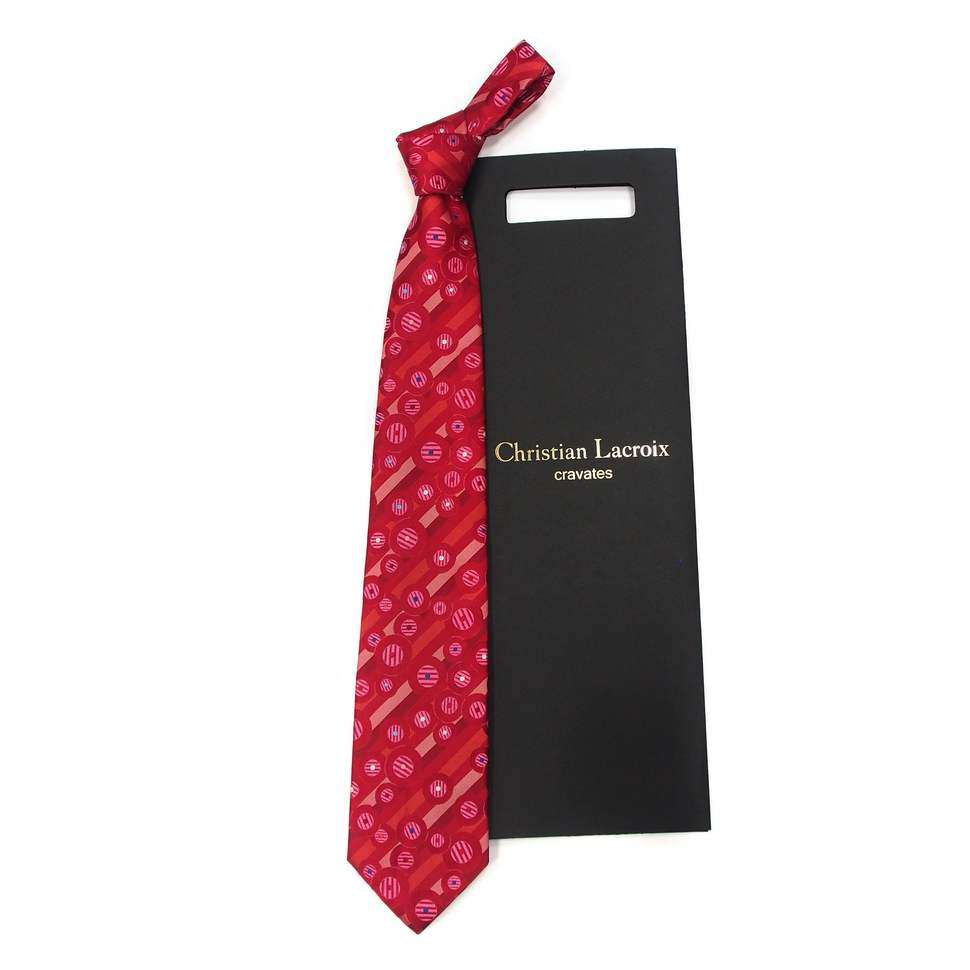 "Ярко-пурпурного цвета шелковый галстук ""с геометрией"" Christian Lacroix 820182"