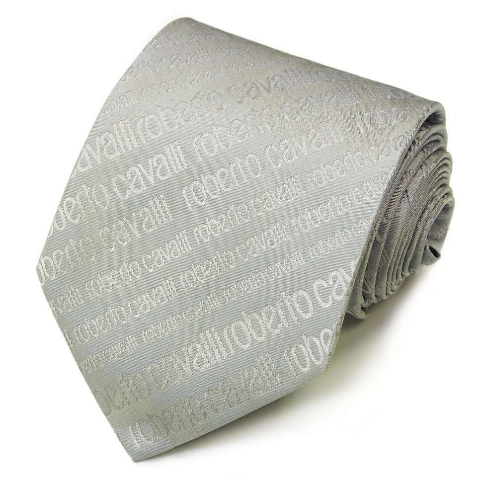 Серебристо серый итальянский галстук с логотипами Roberto Cavalli 824602