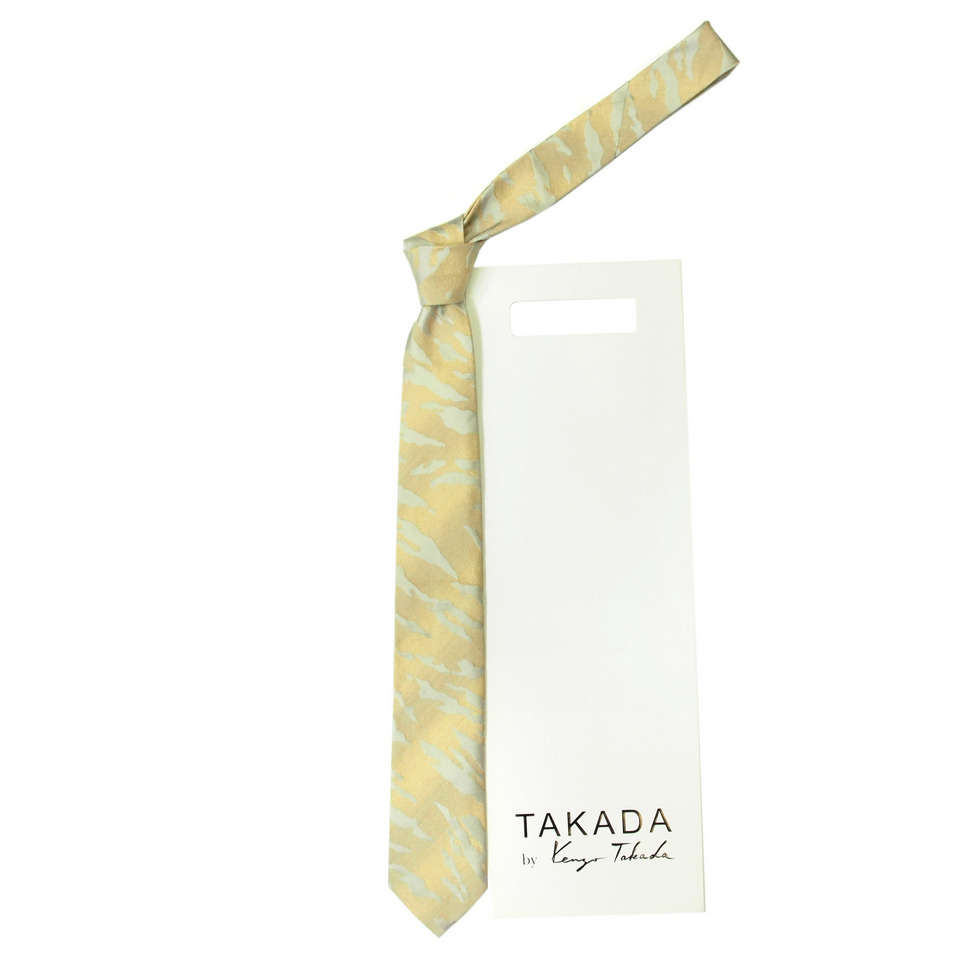 Светло-бежевый галстук с серебристыми полосками Kenzo Takada 826344