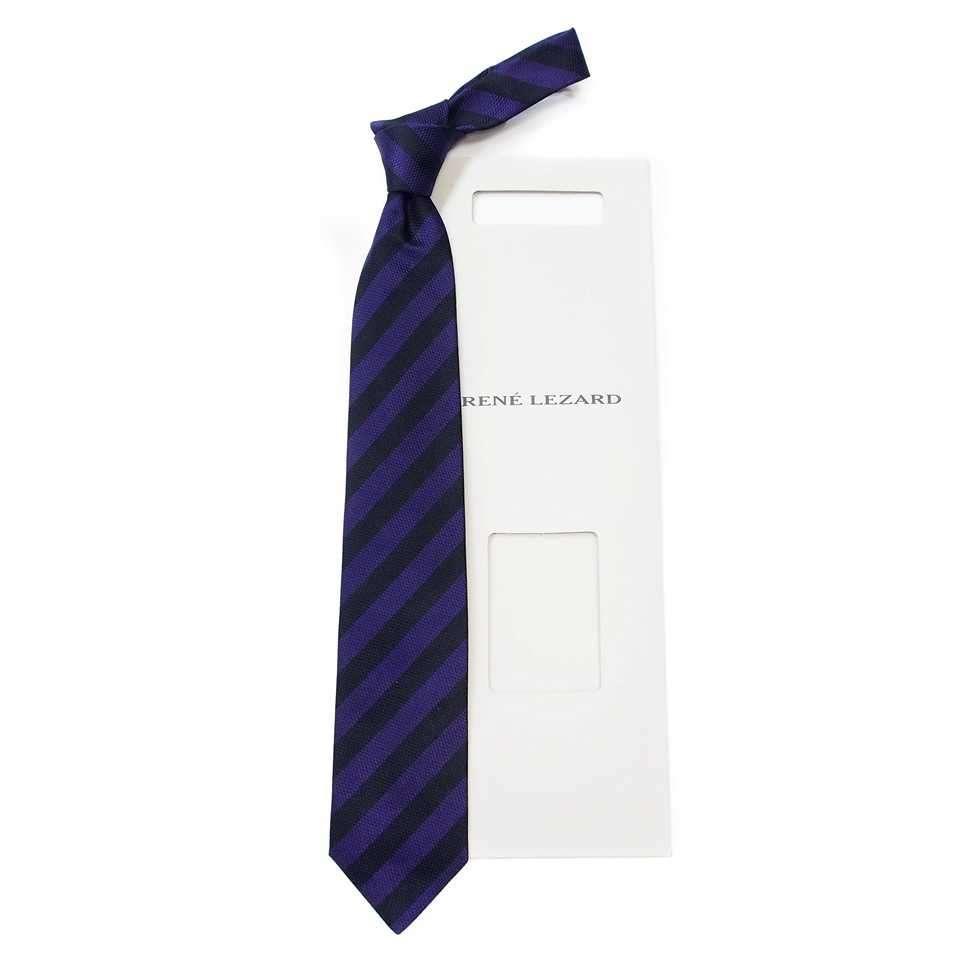 Темный шелковый галстук в полоску Rene Lezard 822621