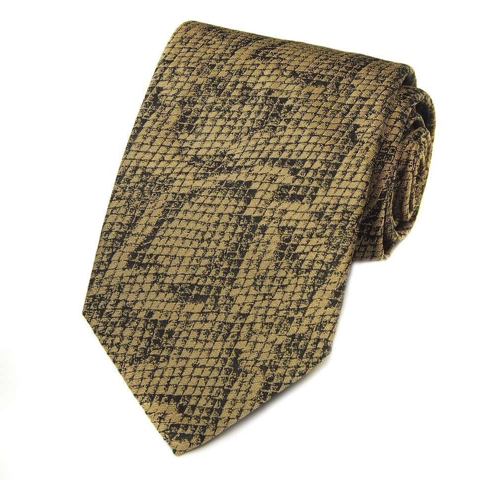 Черный галстук с золотистым дизайном под рептилию Kenzo Takada 826385