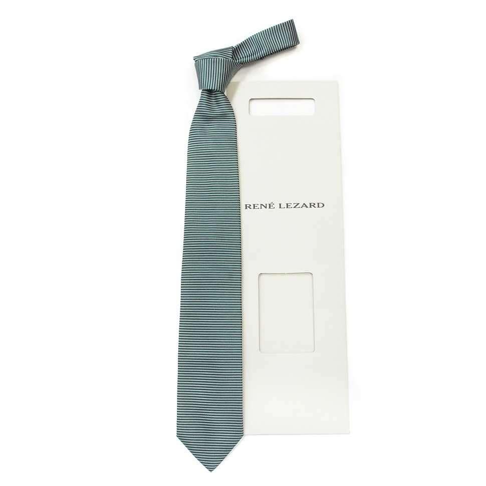 Шелковый галстук в поперечную зеленую полоску Rene Lezard 822627