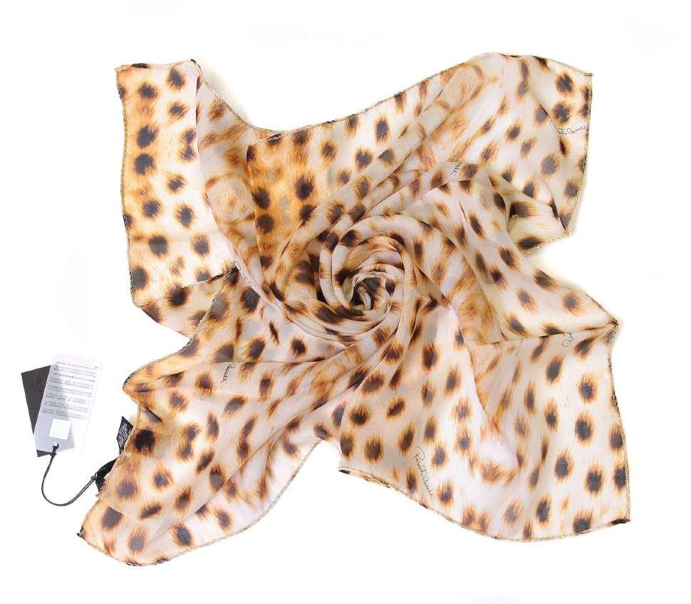 Шелковый платок оригинальной леопардовой расцветки Roberto Cavalli 15785