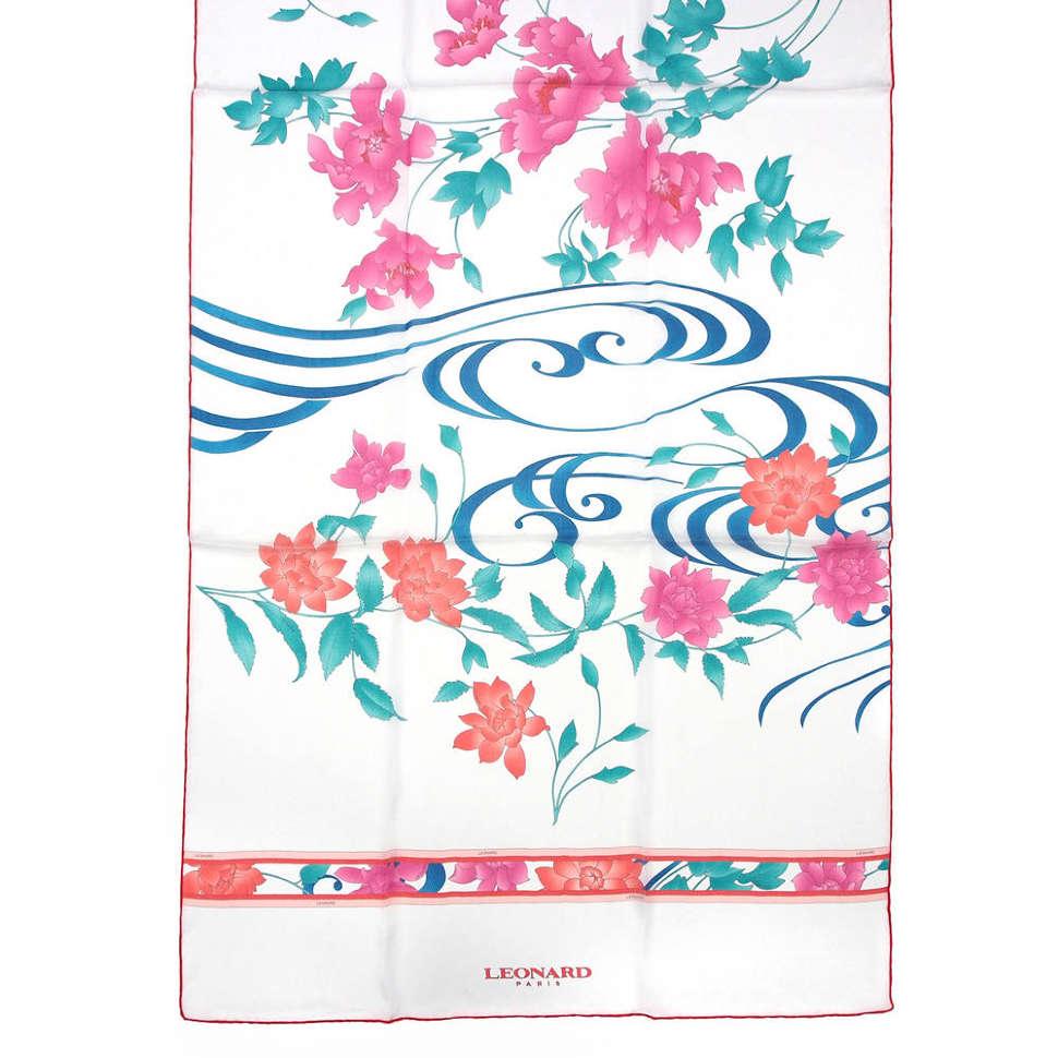 Белый шелковый палантин с розово-бирюзовыми цветками Leonard 813247