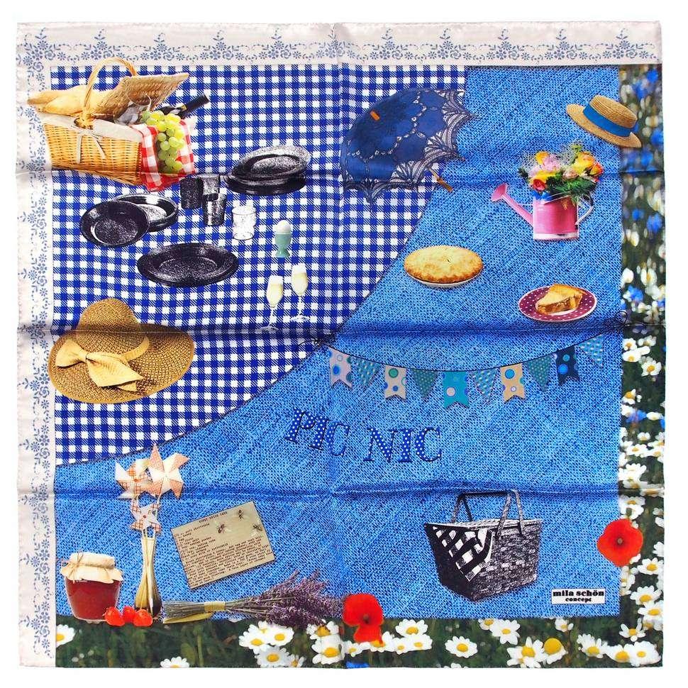 Светлый женский платок с летней тематикой Mila Schon 821616