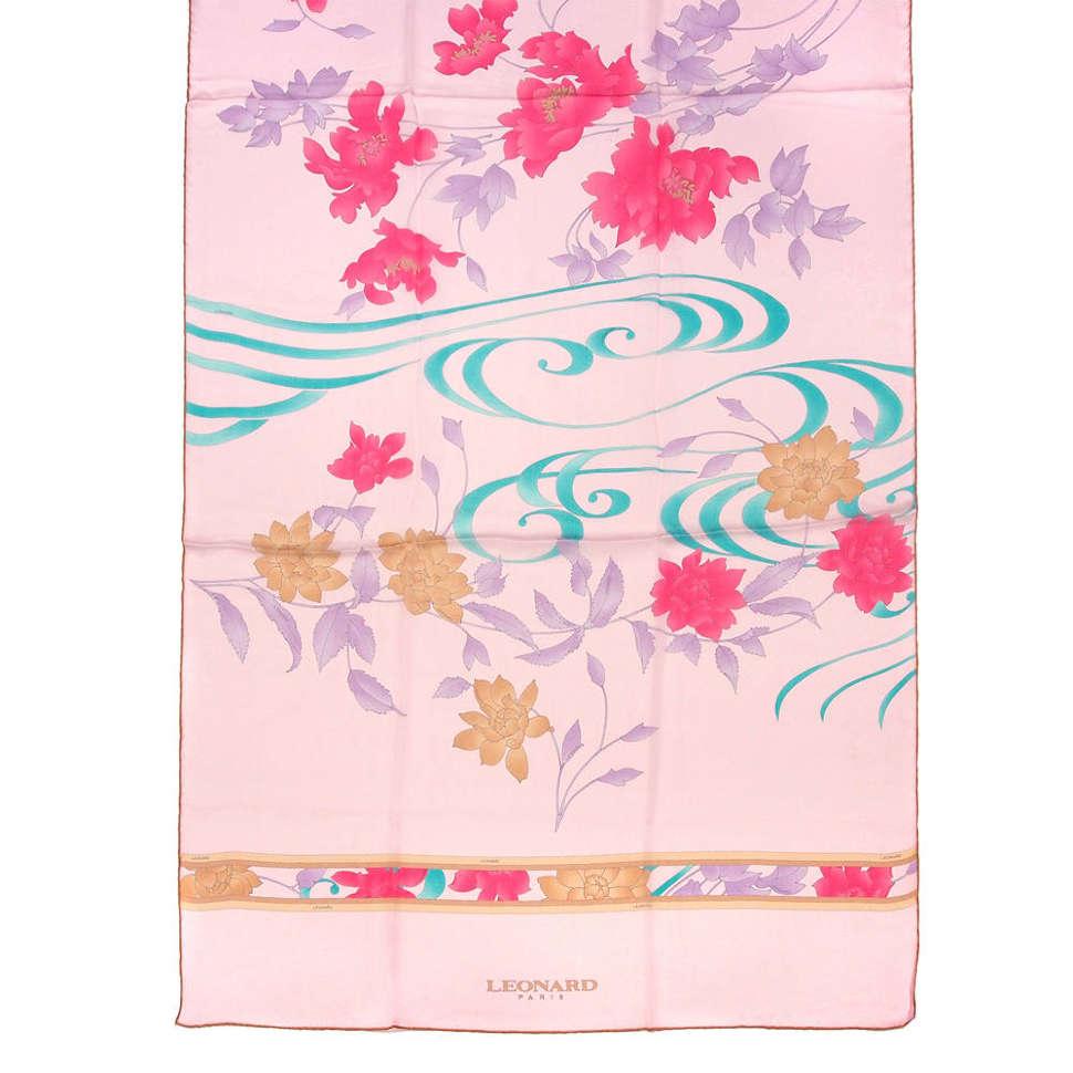 Фирменный розовый палантин с узорами и цветками Leonard 813250