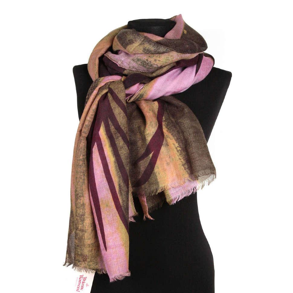 Женский палантин с орлом в розовых и темно-зеленых тонах Vivienne Westwood 65279