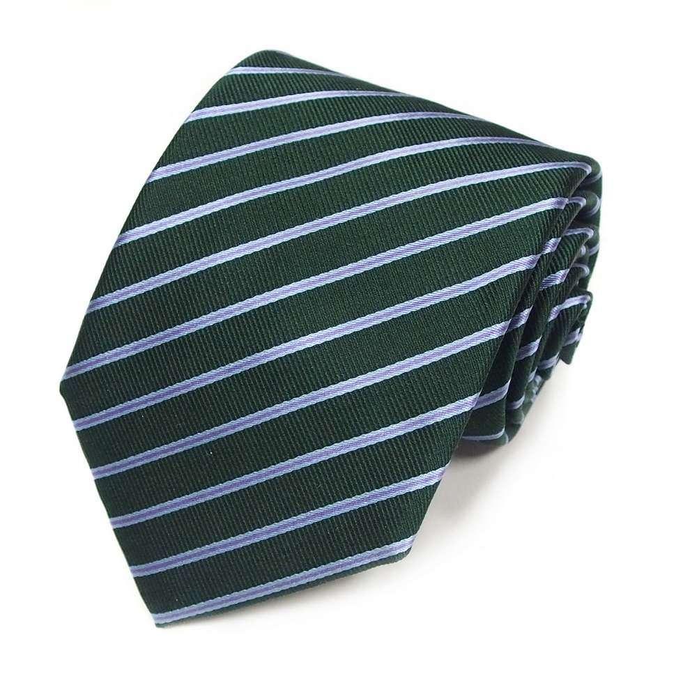 Темно-изумрудного цвета шелковый галстук в полоску Club Seta 820733