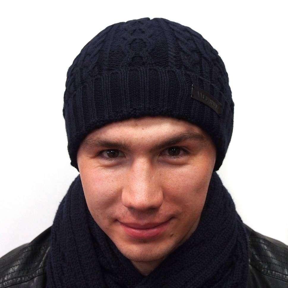Темно-синяя вязанная шапка с классическим узором Valentino 821257
