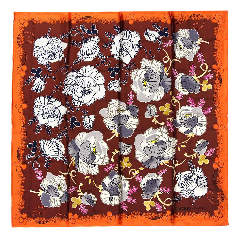 Красивый коричневый платок с оранжевой каймой Coveri collection 812005
