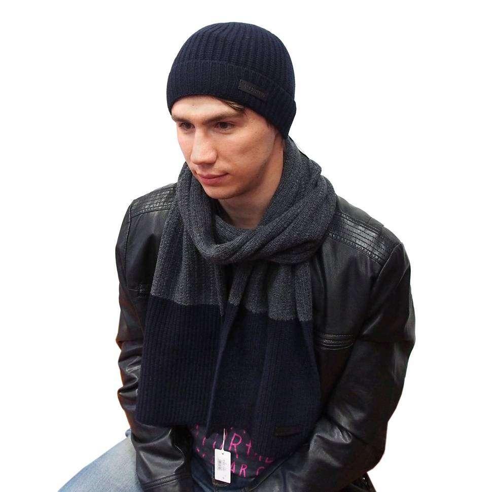 Темно-синяя теплая шапка с классическим дизайном Valentino 821265