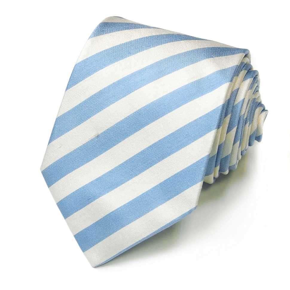 Гладкий шелковый галстук в светло-голубую полоску Rene Lezard 822729